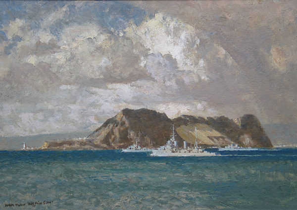 Gibraltar by artist Norman Wilkinson - Robert Perera Fine Art Ltd.
