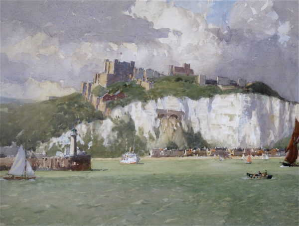 Dover Castle by Norman Wilkinson watercolour - Robert Perera fine Art Ltd.