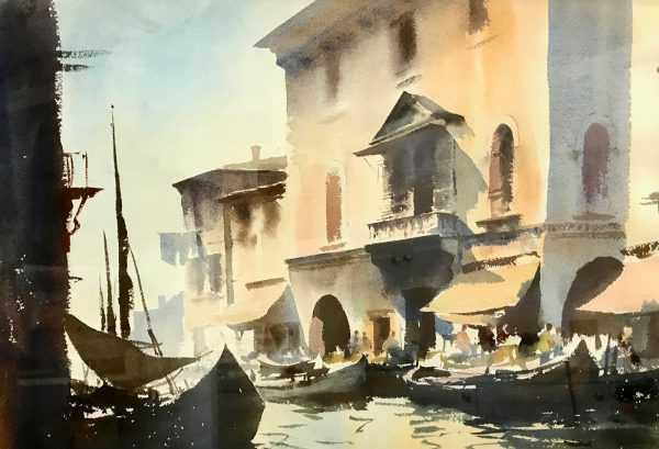Edward Seago Venice watercolour painting - Robert Perera Fine Art Ltd.