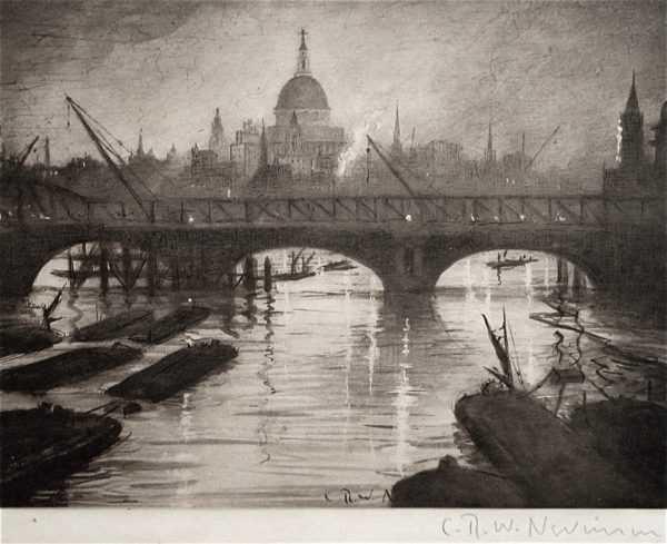CRW Nevinson Thames photogravure Robert Perera Fine Art Ltd