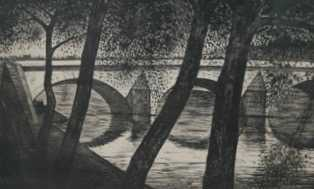 CRW Nevinson etching Bridge - Robert Perera Fine Art Ltd