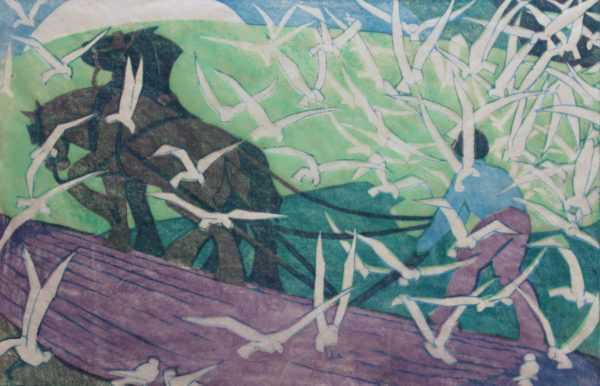 Ethel Spowers linocut sell art to Robert Perera Fine Art