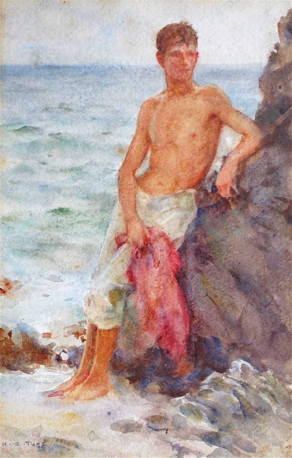 Valuation Henry Scott Tuke Nude by rocks Cornish artist - Robert Perera Fine Art Ltd
