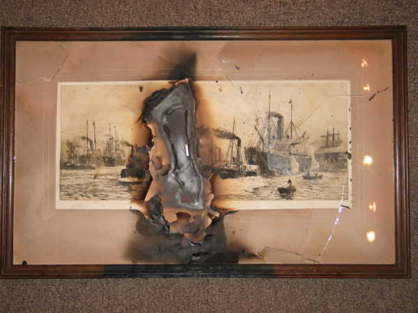 WL Wyllie damaged etching burnt by a candle. This is past restoration! etching Portsmouth artist Robert Perera Fine Art