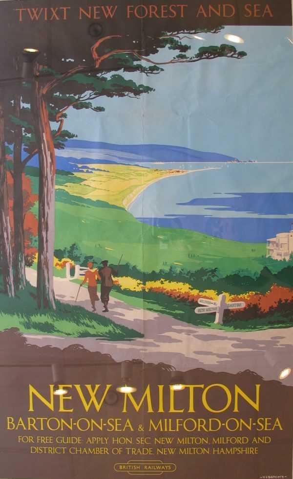 Original Period Vintage Railway Poster Valuation New Milton sell art to Robert Perera Fine Art