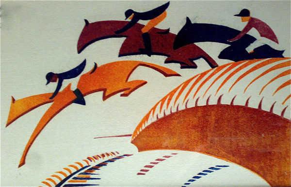 Sybil Andrews Steeplechasing linocut sell artist Robert Perera Fine Art Ltd