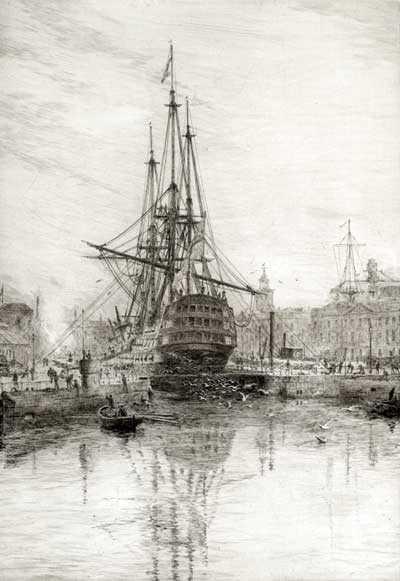 WL Wyllie HMS Victory etching Portsmouth artist Robert Perera Fine Art