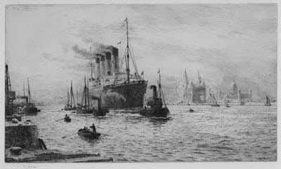 WL Wyllie RMS Mauretania etching Portsmouth artist Robert Perera Fine Art