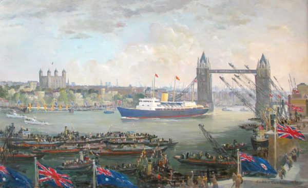 Charles Cundall HMY Britannia Tower Bridge - Painting Valuation - Robert Perera Fine Art Ltd