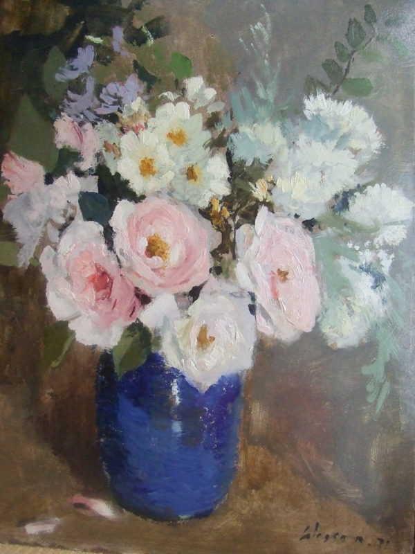 Edward Wesson Flower oil - Robert Perera Fine Art Ltd