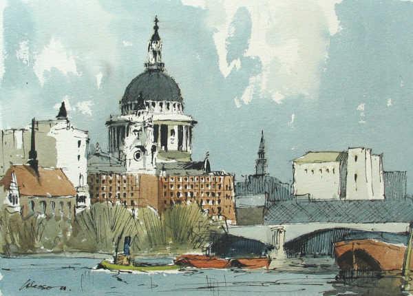 Value Edward Wesson St.Pauls London watercolour - Robert Perera Fine Art Ltd
