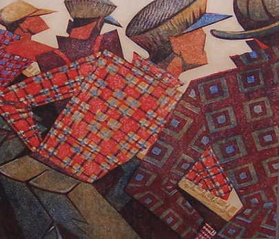 Sybil Andrews Coffee Linocut sell artist Robert Perera Fine Art Ltd