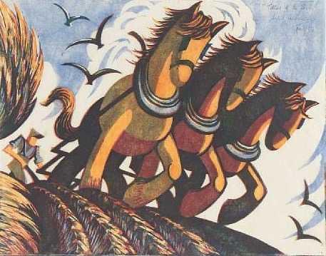 Sybil-Andrews-horses linocut sell artist Robert Perera Fine Art Ltd