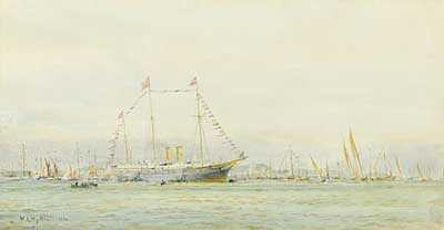 WL Wyllie Royal Yacht watercolour Portsmouth artist Robert Perera Fine Art