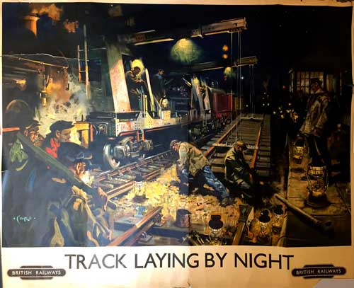 Terence Cuneo Vintage Poster Track Laying Robert Perera